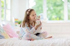 Child playing with baby cat. Kid and kitten stock photo