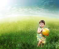 The child playing a ball Royalty Free Stock Photo
