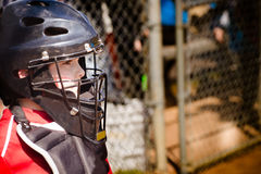 Child playing baseball. Child playing catcher during baseball game with space for copy Royalty Free Stock Photography