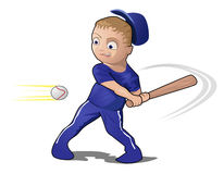 Child Playing Baseball with a bat Stock Images