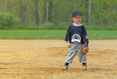 Child Playing Baseball. A little boy playing the field in baseball Stock Photo