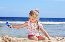 Child playing on  beach. Royalty Free Stock Photos