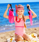 Child playing on  beach. Royalty Free Stock Images
