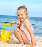 Child playing on  beach. Stock Images