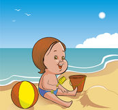 Child playing in beach. Vector Child playing in beach Stock Illustration