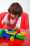 Child playing with block Royalty Free Stock Image