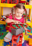 Child playing block and construction set . Stock Images