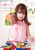 Child playing  block at home. Royalty Free Stock Photo
