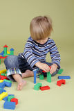 Child Playing with Blocks Stock Images