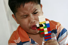 Child playing building blocks Royalty Free Stock Photo