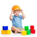 Child playing with building blocks toy. Kid playing with building blocks toy stock photography