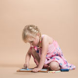 Child Playing With Chalk Stock Photos