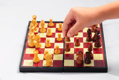 CHILD PLAYING CHESS . Stock Photos