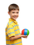 Child playing with colorful toy rubber ball Stock Photography