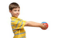 Child playing with colorful toy rubber ball. Isolated on white background Royalty Free Stock Images