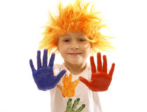 Child playing with colors Royalty Free Stock Photos