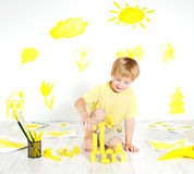 Child playing with construction blocks. Creativity. Child playing with construction blocks. Development and creativity concept Royalty Free Stock Photography