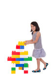 Child playing with construction blocks Royalty Free Stock Images