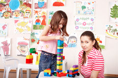 Child playing construction set . Royalty Free Stock Images
