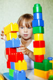 Child playing with constructor Royalty Free Stock Photography