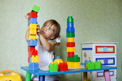 Child playing with constructor Stock Image