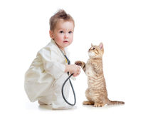 Child playing doctor with stethoscope and cat. Kid or child playing doctor with stethoscope and cat  on white Royalty Free Stock Photography