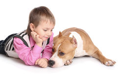 Child playing with the dog Royalty Free Stock Images