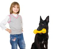 Child playing with dog Royalty Free Stock Photos