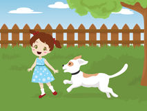 Child playing with a dog. Vector illustration of a child playing with her in the backyard Royalty Free Stock Image