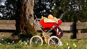 Child Playing With Doll Carriage stock footage