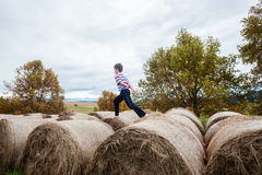 Child Playing Farm Bales Royalty Free Stock Image