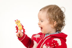 Child playing with finger  puppet Stock Images
