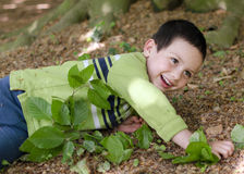 Child playing in forest stock photo