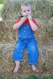Child playing harmonica. stock photos