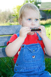 Child playing harmonica. Royalty Free Stock Photos