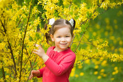 Child playing hide and seek. Beautiful little girl hiding behind tree in spring blossoms. Small kid looking at camera at green nature background Stock Images