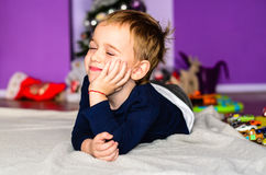 Child playing at home stock image