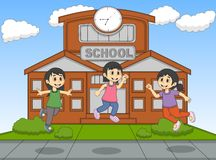 Child playing jump at the school cartoon vector illustration Stock Images