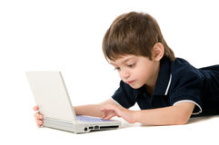 Child playing with the laptop stock images