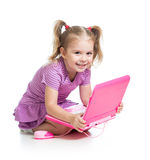 Child playing with laptop toy Stock Photography