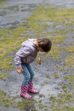 The child playing in a puddle Royalty Free Stock Photography