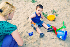 Child playing in sand Royalty Free Stock Photography