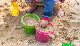 Playing in the sand royalty free stock photos