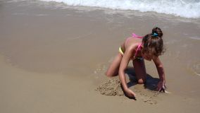Child Playing in Sea Sand Beach, Little Girl on Tropical Exotic Sea Coastline stock footage