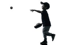 Child playing softball players silhouette isolated Stock Image