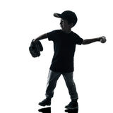 Child playing softball players silhouette isolated Royalty Free Stock Images