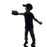 Child playing softball players silhouette isolated Royalty Free Stock Image