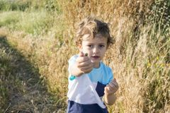 Child playing with some snails. Child playing with some snails at sunset with wild herbs in the background Stock Photography