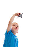 Child playing with space shuttle Stock Images