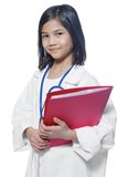 Child playing stern doctor Royalty Free Stock Image